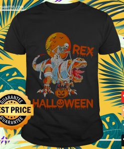 Halloween skellington riding dinosaur T-rex Shirt