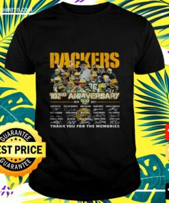 Green Bay Packers 102nd anniversary 1919-2021 thank you for the memories signatures t-shirt