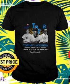 Los Angeles Dodgers Tommy Lasorda 1927-2021 thank you for the memories signature t-shirt