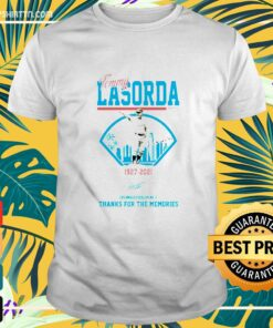 Los Angeles Dodgers Tommy Lasorda manager 1927-2021 thank you for the memories signature t-shirt