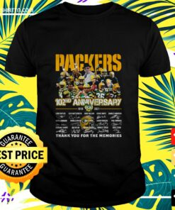 Men's Packers 102nd anniversary 1919-2021 thank you for the memories t-shirt