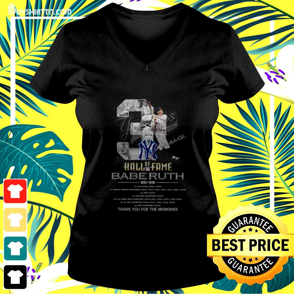03 Hall of Fame Babe Ruth 1895-1948 signature v-neck t-shirt