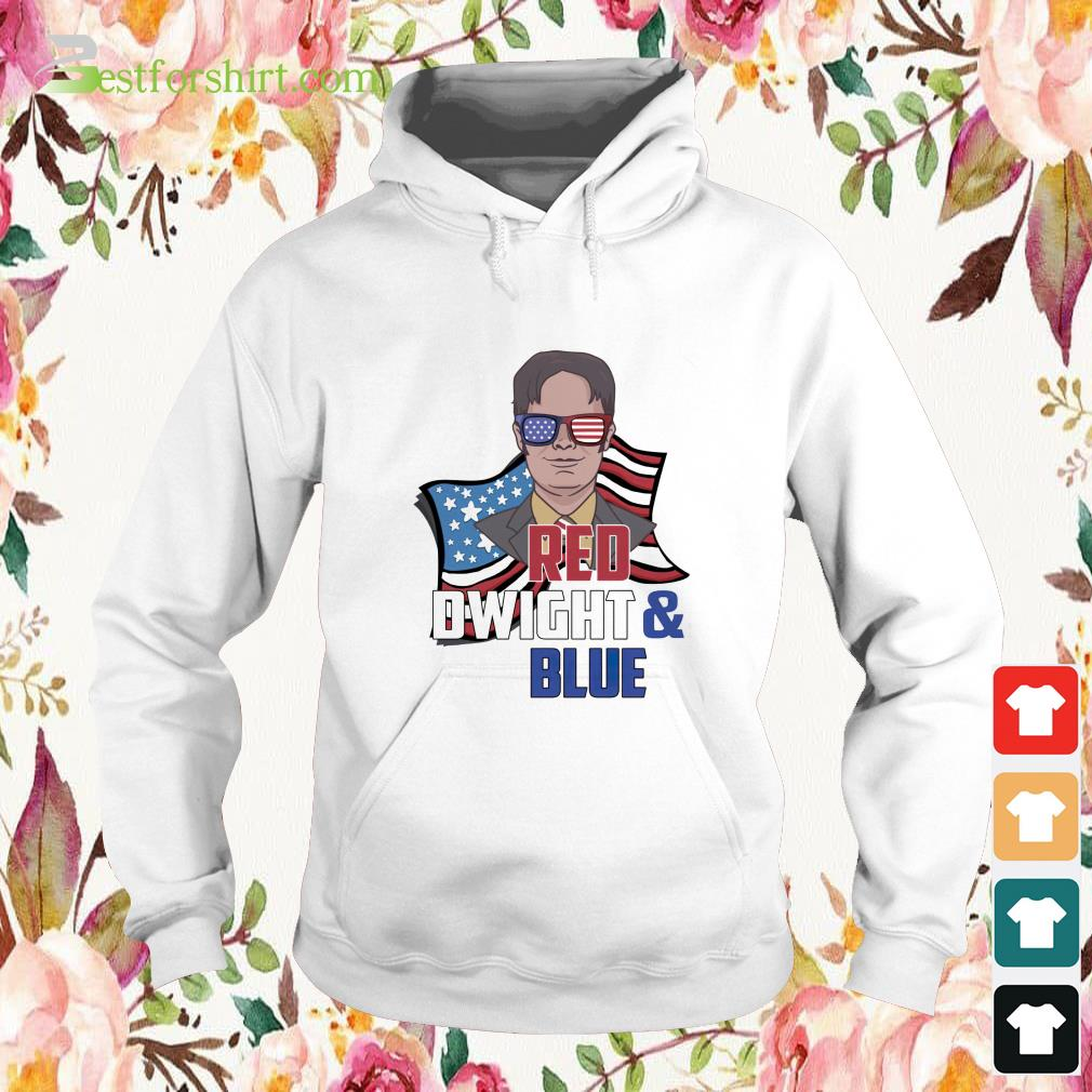 Red Dwight and blue Hoodie