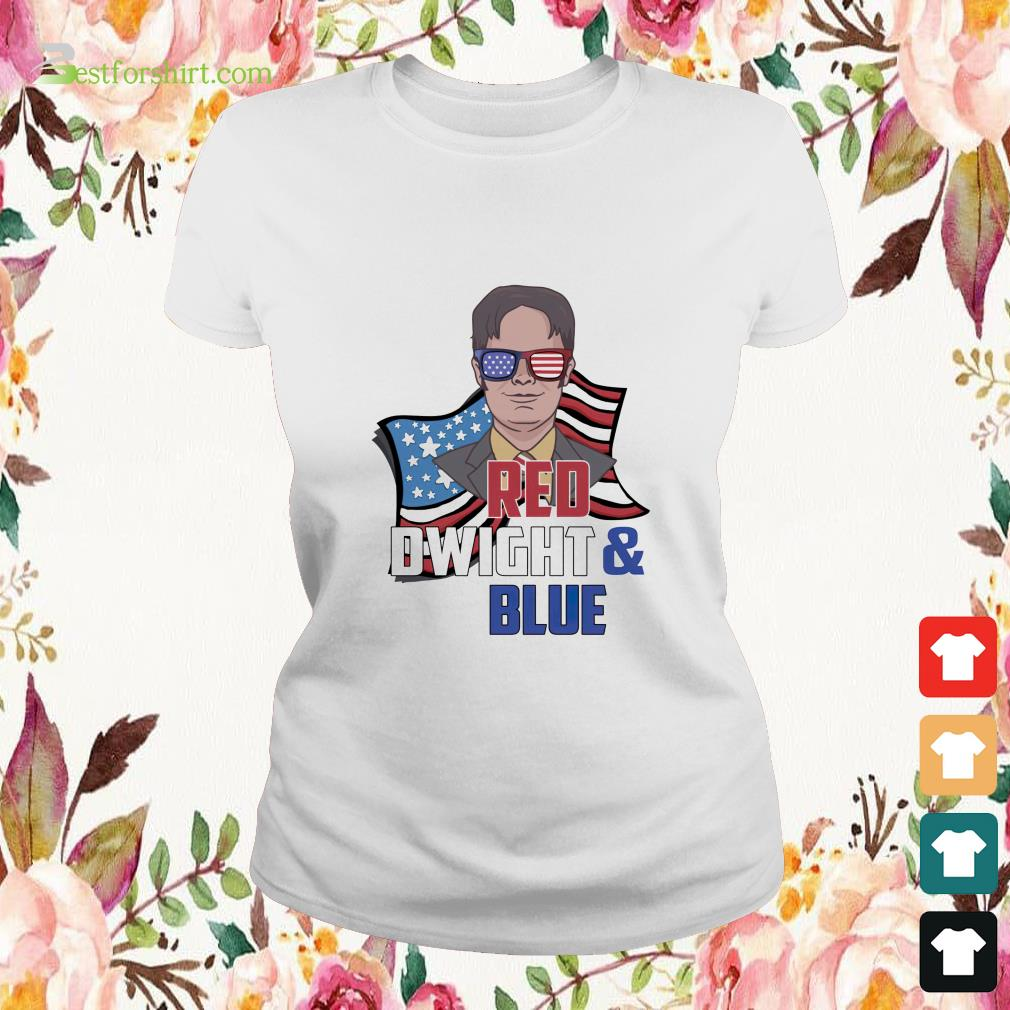 Red Dwight and blue Ladies-tee