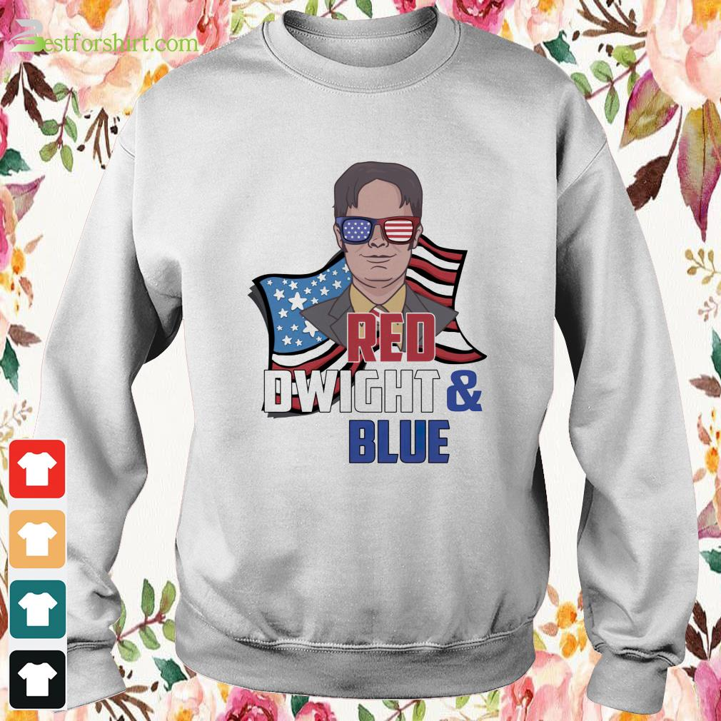 Red Dwight and blue Sweater