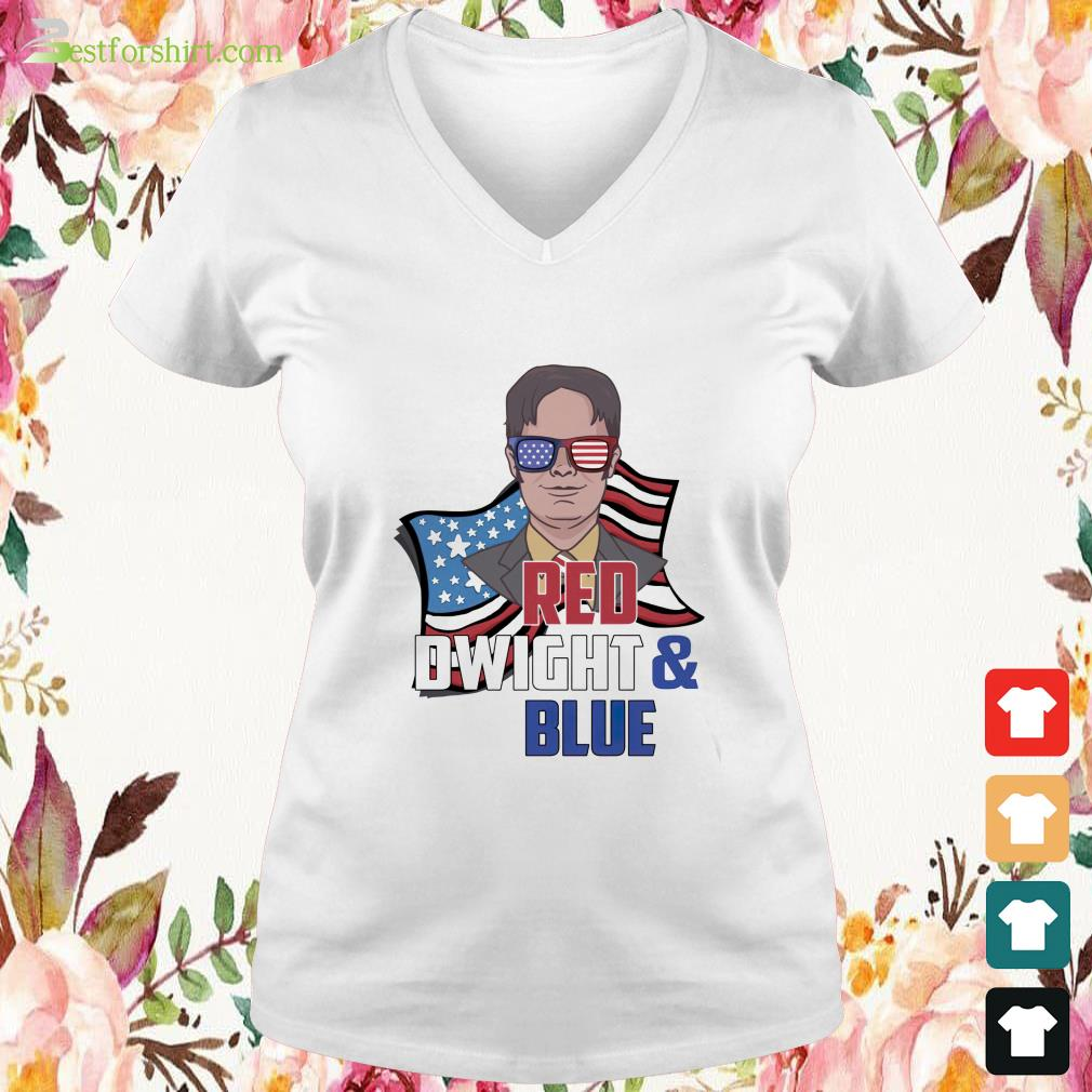 Red Dwight and blue V-neck t-shirt